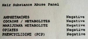 sample drug test form showing negative results